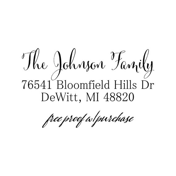 Custom Calligraphy Return Address Stamp Mounted With Handle