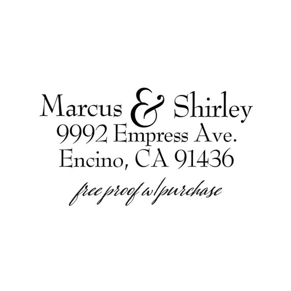 Custom Personalized Return Address Stamp featuring the First Names.  Wooden Handle or Self-Inking Return Address Stamp  2 1/2 x 1 (20308)