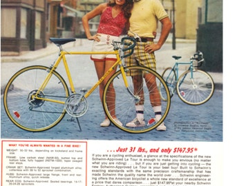 1974 Schwinn Bicycle Ad - Authentic - Original - Advertising LE TOUR