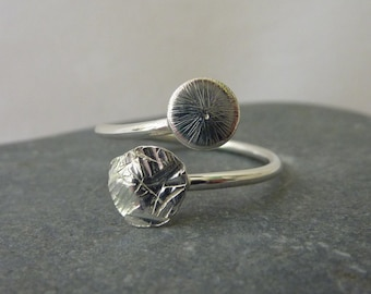 Adjustable ring with textured sterling silver domes: Handmade sterling silver.  One size fits all UK size I-Q/US 4.75-8.5