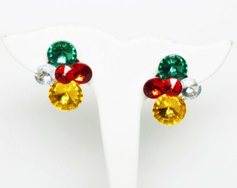 Rivoli Rhinestone Earrings - Retro Clip on Style - Multi Colored Red, Green, Golden Yellow Vintage Jewelry Design