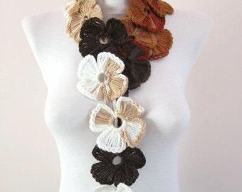 Lariat,Flower Crochet Lariat Scarf,Brown,Scarf,Crochet Necklace