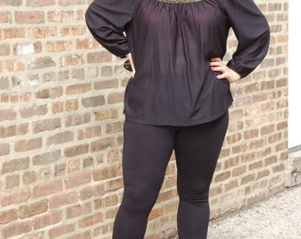 1970s 3X Black and Gold Shimmer Blouse - by Lady O