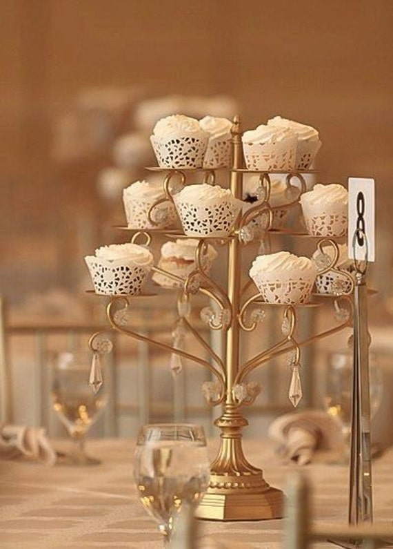Cake Stand Candle Centerpiece : Gold cupcake candelabra centerpiece stand crystal