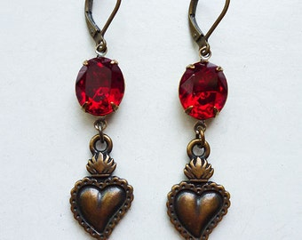 Sacred Love // Antiqued Brass Sacred Heart Earrings w/ Vintage Ruby Red Gems, Double Sided Charms, 1950s Sparkly Jewels, Dia de los Muertos