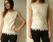 1960's Vintage Ivory Heavily Beaded & Sequin Flapper Top Size Small