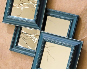 Wall Mirror Collection of Three / Mirror Gallery / Hand Painted in Teal with Silver Highlights by OlliesFineThings