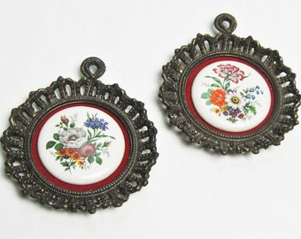 Miniature Ceramic Wall Plaques Ornate Antiqued Brass Frames Painted Flowers on White China  on Red Velvet by E. A. Riba