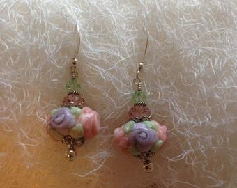 Pink, Lilac Raised Flowers, and Green Lampwork, Swarovski Crystal, Sterling Silver Earrings   ES627