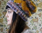 The Alice in Mustard and Tundra // Hand Knit Geometric Two Tone Chevron Slouch Bean