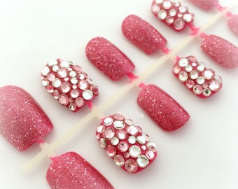 Pink rhinestone deco nails, cute bling nails, kawaii Harajuku style nail art
