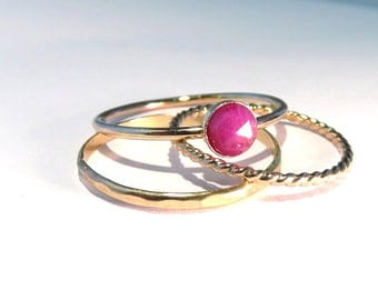 Ruby Ring, Gold Ruby Rings, Ruby Stacking Set, stacking rings, July Birthstone rings, July gemstone rings, Ruby stacking rings, gold rings