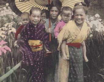 Japanese Village Woman and Children, Hand-Tinted Card from Japan, Posted 1920s
