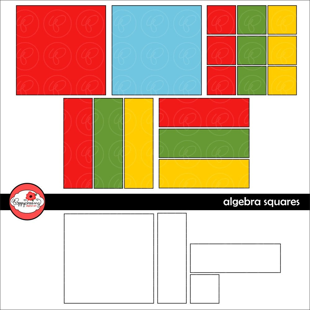 Math Manipulatives Algebra Tiles Clipart Set 300 By