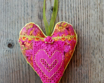 Handmade Heart Ornament, Vintage Floral Cotton, Vintage Doily, Pink Paper Rose, Vintage Upholstery Velvet Back