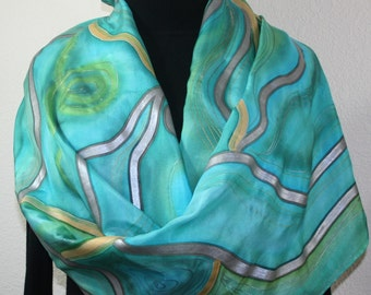 Teal, Turquoise Hand Painted Silk Shawl Ocean Journey. Extra Large 22x72. Silk Scarves Colorado. Elegant Handmade Silk Scarf. Birthday Gift