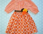 Girls Fall Dress in Orange Dot and Quatrefoil - Girls Fall Dress - Baby Girl Fall Dress - Baby Girl Fall Dresses - Girls Fall Dresses