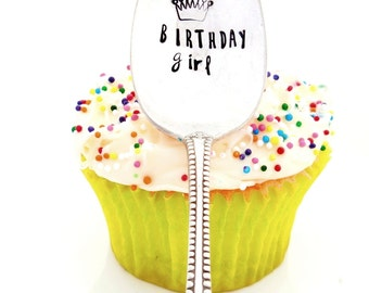 Birthday Girl Hand Stamped Teaspoon, with Crown or Tiara. The ORIGINAL Hand Stamped Vintage Spoons™ by Kelly Galanos for Sycamore Hill