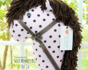 Pink and Brown Polka Dot Stick Horse, Hobby Horse Child's Toy