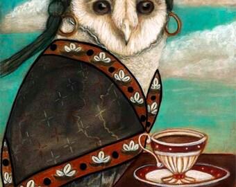 Tea leaf reader barn owl mystical gypsy 8x10 inch fine art print