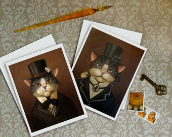 Victorian Cat Cards - Gentleman Cat Dandy and Lady Cat
