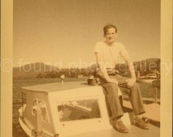 Vintage Color Photo, Man on Motor Boat, Found Photo, Old Photo, Vacation Photo, Snapshot, Travel Photo, Vernacular Photo   *AUGUSTINE0351