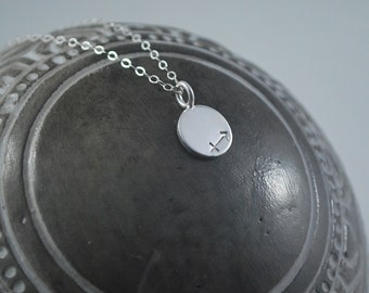 SAGITARIUS dainty coin necklace small silver zodiac necklace Sagitarius symbol jewelry Meaningful thoughtful gift or great layering necklace