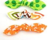 Top Knot Bow Hair Clip, Pony Tail Hair Tie in Polka Dot, Chevron, Orange