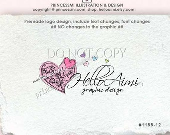Custom Premade Logo Design - sketch big love heart logo with flowers photography or business logo by princessmi  1188-12