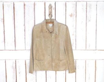 Tan brown/camel suede leather vintage jacket top/suede leather blazer/suede leather button down shirt