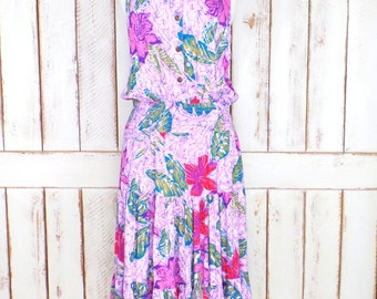 Vintage lavender purple batik floral print sleeveless maxi dress/ruffle tiered dress/smocked/boho dress