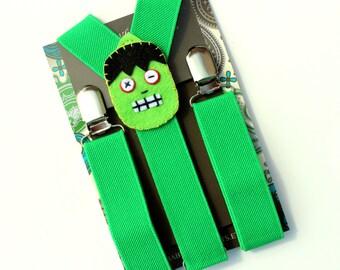 Kids Halloween Suspenders, Green Suspenders, Monster Suspenders, Baby Suspenders, Toddler Suspenders, Childrens Photo Prop, Halloween Party
