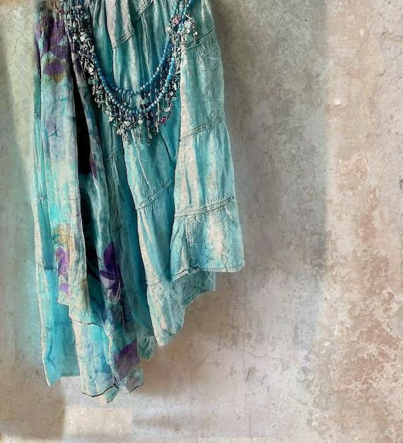 Gypsy Bohemian SKirt/Sash. Boho Chic Peasant Hippie Boho Festival Summer Wear. Wild at Heart. Tribal Effect. Turquoise. Purple.
