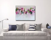 Large Canvas Art, Wall Art, Pink and Green Abstract Print, Giclee Print, Large Floral Art Painting, Flower Canvas,  Modern Pink Floral Art