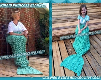 Instant Download Crochet Pattern- Mermaid Princess Cuddle Blanket - Youth - Adult