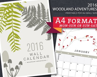 2016 PRINTABLE Nature Wall Calendar - A4 size