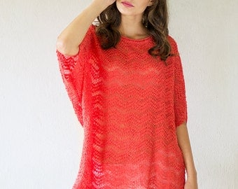 Coral Pink Linen Blouse Oversized Knitted Tunic Loose Fit Shirt Jersey Top Women Sweater Eco Blouse