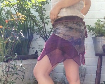Little Pixie Wrap Skirt, Fairy Skirt, Hand Dyed