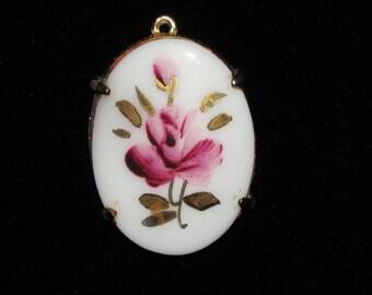 Vintage Dodds Porcelain Rose Pendant Pink and Gold