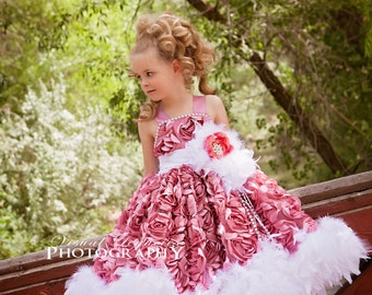 Dusty Mauve Pink Rosette Feather Dress