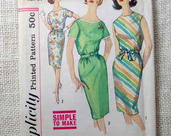 Simplicity 4394 vintage sewing pattern 1960s belted shift dress sleeveless  Dress Sack Bust 34