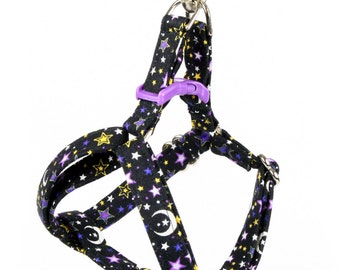 Step In Dog Harness - Night Sky on Black Stars and Moons  - Mini Small Medium Large XL Dog Harness