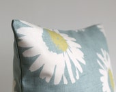 Pillow Cover, 18 Inch Pillow Sham, 18x18 Cushion Cover, Decorative Pillow Cover, Pillowcase, 18 Inch Sofa Pillow Cover - Daisies Duck Egg