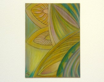 Leaves painting, original wood art, moss green foliage, nature inspired artwork,