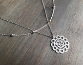 Filigree and Satellite Chain Silver Necklace. Adjustable 16-18 inches. Also available in Gold