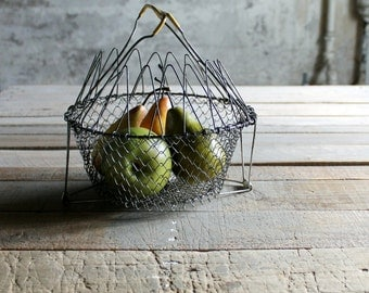 Vintage French Collapsable Wire Egg Basket