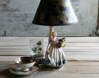 Vintage Italian Flower Girl Lamp Base
