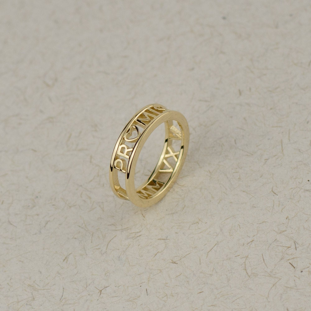 solid gold promise ring personalized numeral ring