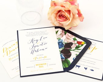 Maple Wedding Invitation Suite, Script Wedding Invitation - Purchase this deposit to  get started