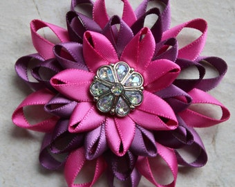 Raspberry Flower Pin, Aubergine, Amethyst, Raspberry Pink Corsage Flower, Pink and Purple Wedding Flower, Irisdecent, Bright Pink Flower